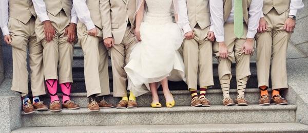 wearing colour socks in a wedding ideas