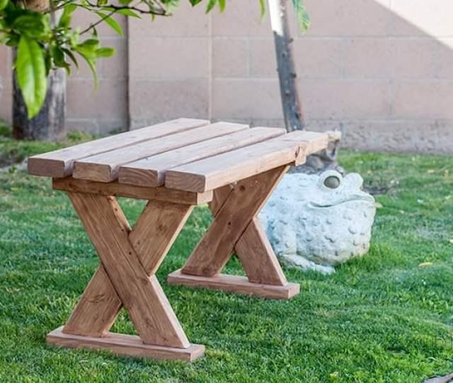 Diy X X Leg Bench Outdoors On The Grass