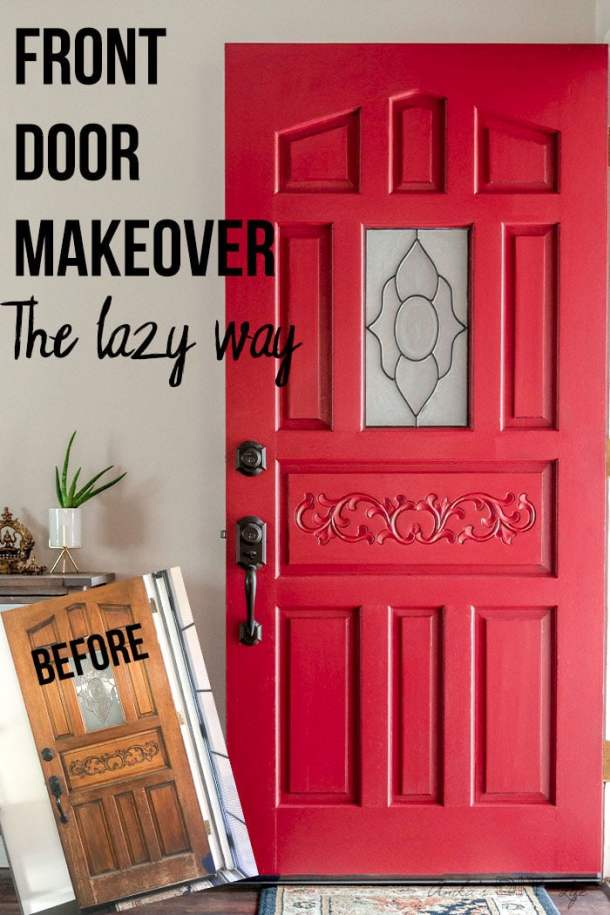 Before and after of front door makeover with text overlay