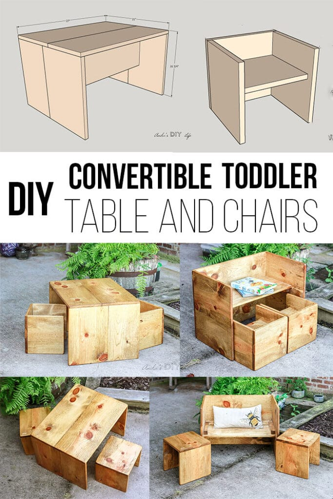 Convertible Diy Toddler Table And Chair Set With Plans