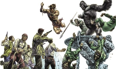 Ilustración del crossover Tarzan on the Planet of the Apes.