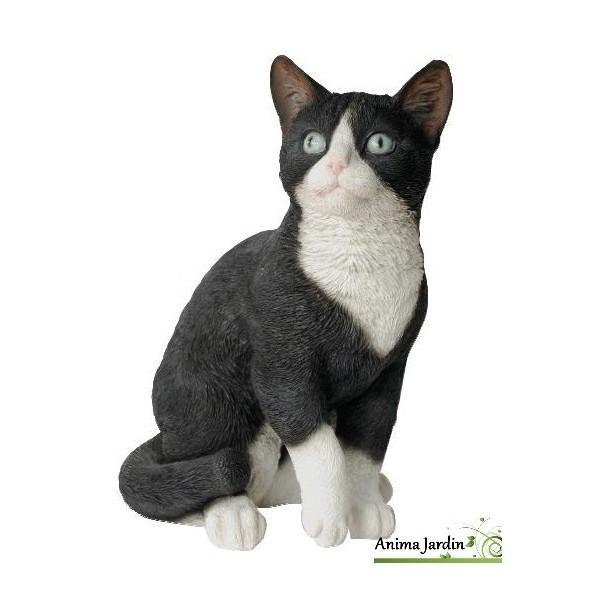 chat noir et blanc assis 30cm en resine deco de jardin riviera achat animal