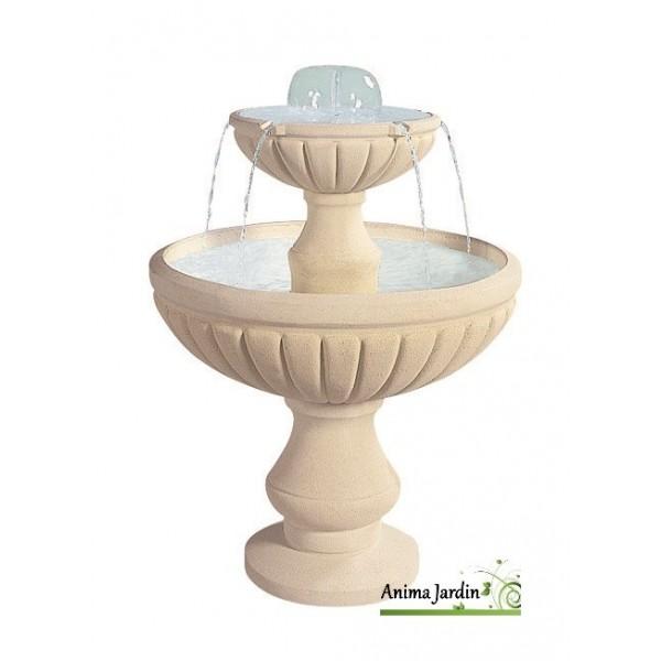 fontaine cascade en pierre reconstituee 2 vasques h 98 cm grandon achat vente