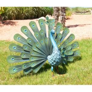 paon en metal animal decoratif stylise exterieur decoration jardin