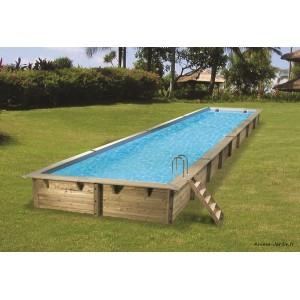 grande piscine linea 15 50m x 3 50 m x h155cm rectangulaire entourage bois ubbink qualite achat vente pas cher