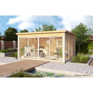 abri de jardin en bois 13 m 44 mm domeo 4 toit plat baie vitree epicea achat