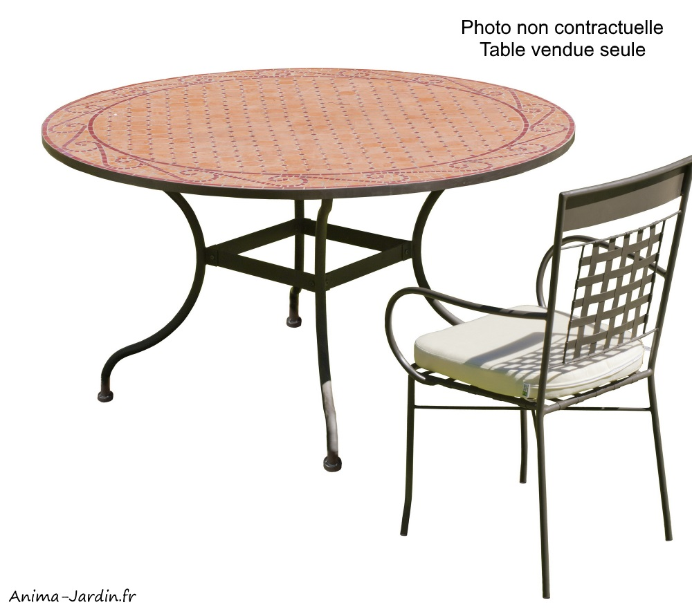 table mosaique fer forge table a manger ronde belice 140 hevea achat pas cher