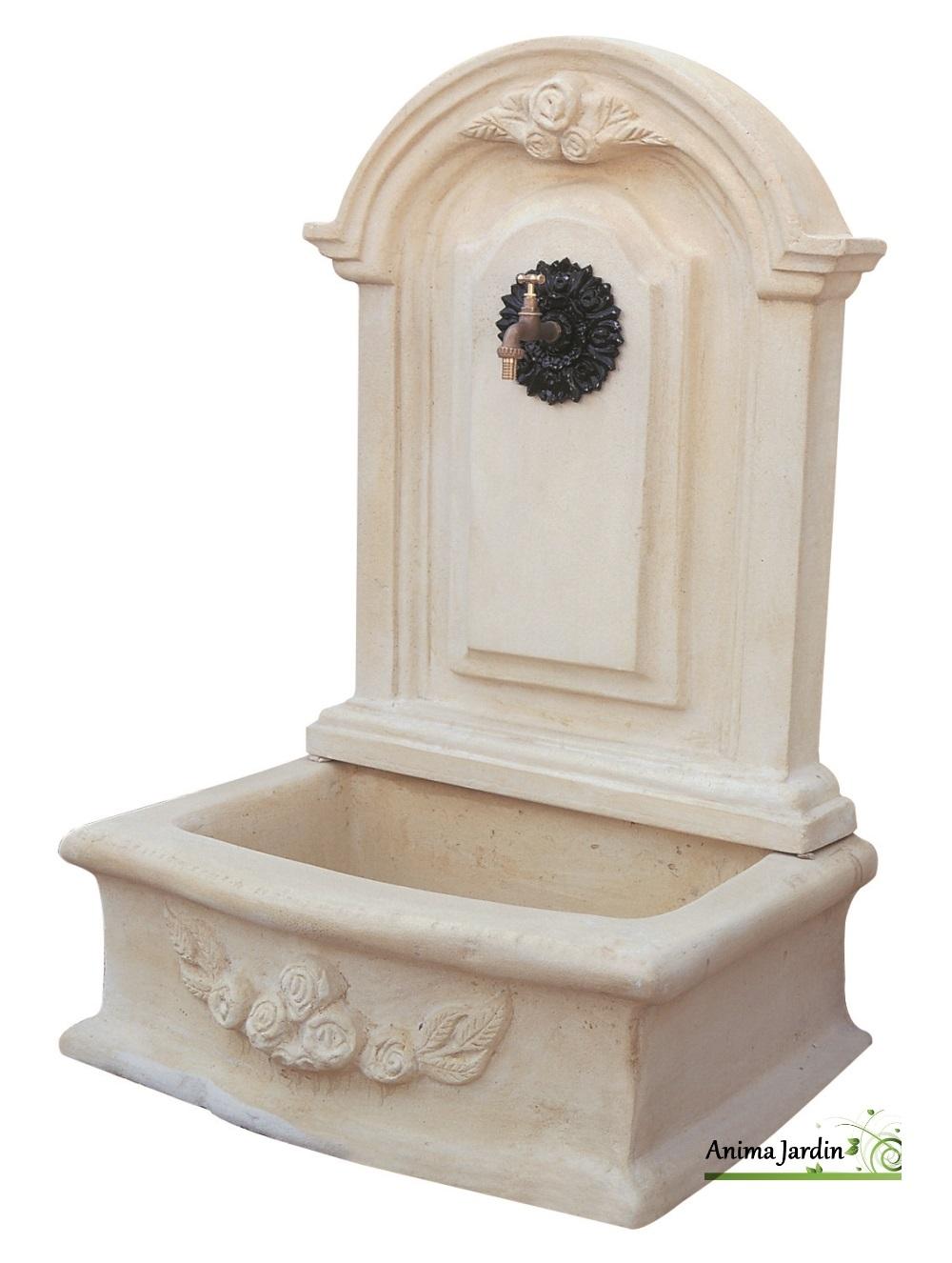 fontaine murale romantique gm en pierre reconstituee 119 cm de haut ton vieilli achat vente