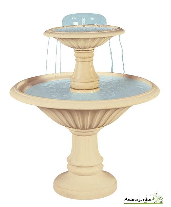 fontaine cascade en pierre reconstituee 2 vasques h 145cm grandon achat vente