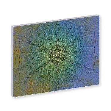 """Blume des Lebens aral, Blume des Lebens """"Dream"""" Harmonisierung vom Mensch und Raum, Wandbild, Feng Shui Bild, Wanddeko, Leinwandbild, Farbwirkung, blau, grün, gelb mystisch, geheimnisvoll"""