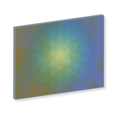 Mandala auf Leinwand, Blume des Lebens aral, Blume des Lebens, Harmonisierung vom Mensch und Raum, Wandbild, Feng Shui Bild, Wanddeko, Wand-Deko, Leinwandbild, Farbwirkung, blau, grün, gelb mystisch, geheimnisvoll