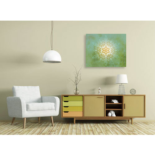 Mandala Blume, grün, green, gruen, gelb Harmonisierung vom Mensch und Raum, Wandbild, Feng Shui Bild, Wanddeko, Leinwandbild, Farbwirkung
