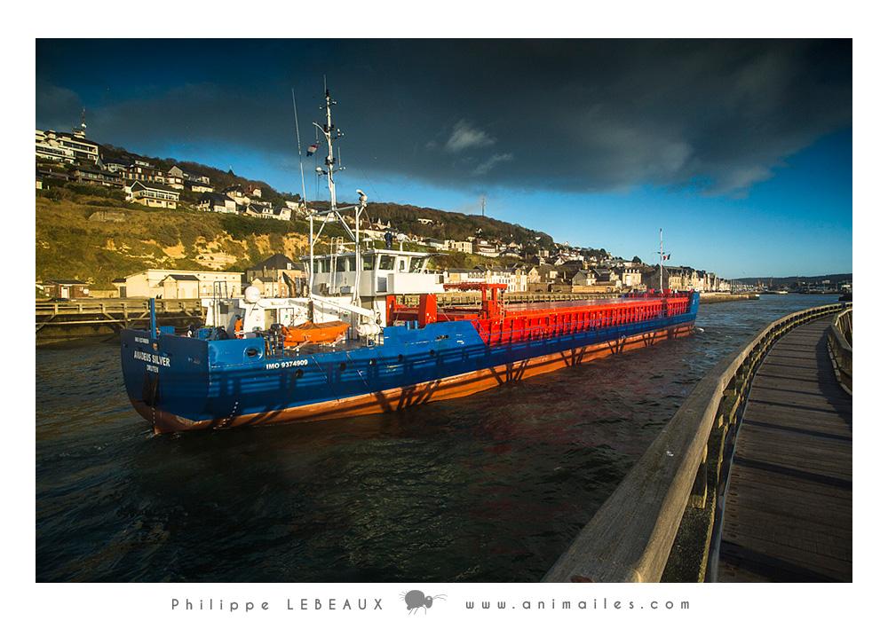 Navire de charge (cargo) rentrant dans le port de Fécamp