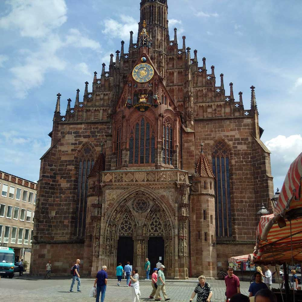 The imposing Gothic Frauenkirche (Church of Our Lady) in the market square