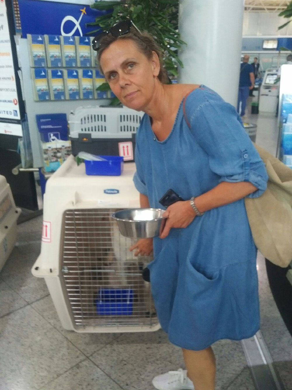 Romeo was brought to the airport by Maria, a friend of Romeo's owners Ionna and Ele
