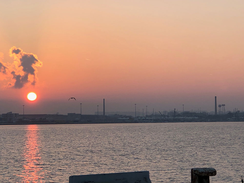 Sunset over the port of Bari
