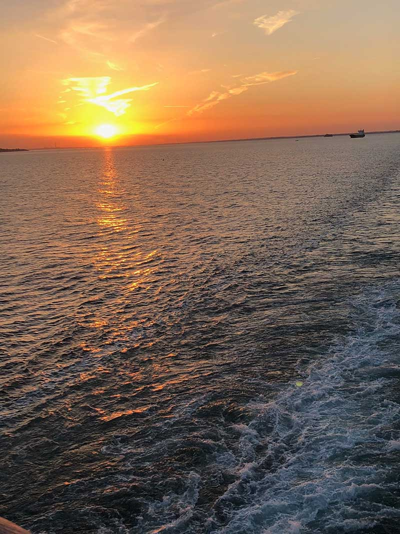 10 dogs and 20 cats: A glorious sunset as our ferry left Portsmouth harbour
