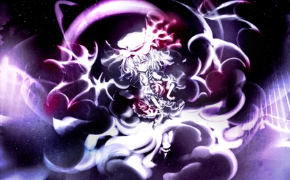 abstract touhou wings dress stars moon fractals purple short hair white hair purple eyes hats