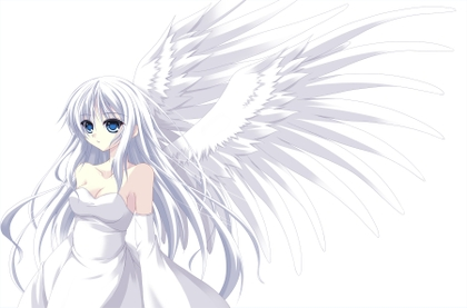 white hair anime girl with wings