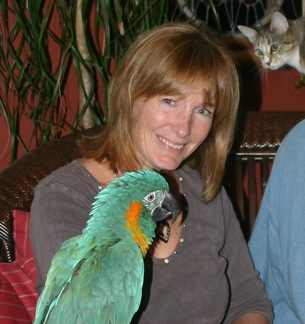 Karen Windsor, executive director at Foster Parrots, with JubJub, a blue-throated macaw