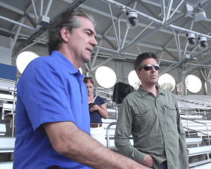 SeaWorld CEO Joel Manby & Humane Society of the U.S. president Wayne Pacelle. (From CBS video.)