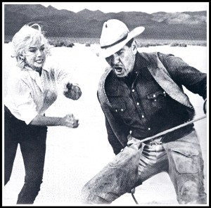 "Marilyn Monroe and Clark Gable in ""The Misfits."""