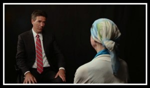 Wayne Pacelle interviews Charla Nash in 2014.