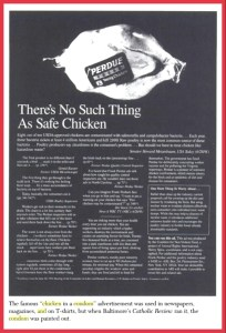 "The infamous ""chicken-in-a-condom ad,"" remembered as perhaps Henry Spira's most provocative ever."