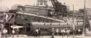 This 1913 train wreck was the second in two years at apparently the same location as the 1997 accident involving the truckload of puppies.  (Connecticut Post photo)