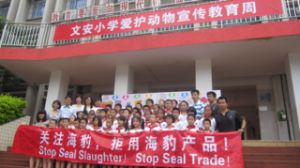 Chinese demonstration against the Atlantic Canada seal hunt.  (Peter Li/HSI photo)