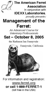 This 2005 conference ad spotlighted the use of ferrets as lab animals.