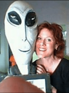 "Barbara Bruin with ""alien."" (Facebook)"