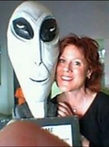 "Barbara Bruin with ""alien.""  (Facebook)"