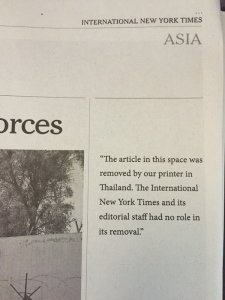 Thomas Fuller's account of the arrest of Thanakorn Siripaiboon for allegedly insulting the Thai king's dog was censored in Thailand.