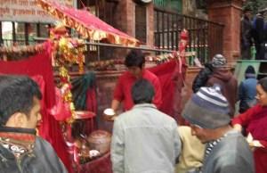 Coconut sacrifice at the Dakchankali temple.