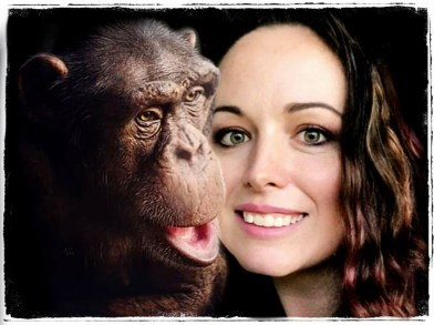 Crystal Alba with chimpanzee