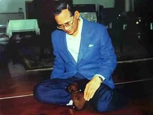 King Bhumibol Adulyadej with Tong Daeng as a puppy.