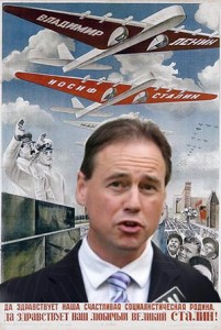 Greg Hunt declares war on feral cats. (Cartoon collage by Merritt Clifton)
