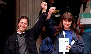 Dave Morris & Helen Steel celebrate European Court of Justice victory. (Wikipedia)