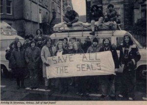 John Hicks led 1975 demonstration against the Orkney seal hunt.