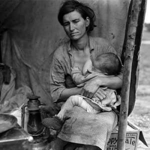 """Migrant mother."" Dorothea Lange photo taken for Farm Security Administration (1936)"