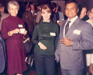 From left to right: Ardith Eudey, Shirley McGreal, and Mohammed Khan, at the 1987 International Union for the Conservation of Nature conference in New Zealand. (IPPL photo)