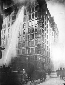The 1911 Triangle fire.  The horror was not visible from below––until the desperate victims started jumping.
