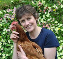 Jane Howorth and hen. (British Hen Welfare Trust photo)