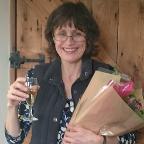 Jane Howorth celebrates her MBE. (British Hen Welfare Trust photo)