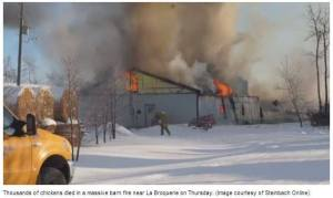 The scene at this fire in La Broquerie was similar to what we saw in Ste. Sabine years earlier.  (CETFA photo)