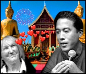 Marc Ching and Ingrid Newkirk next to temple