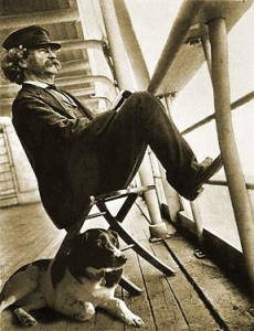 Mark Twain on shipboard with his dog Blue, awaiting dinner.