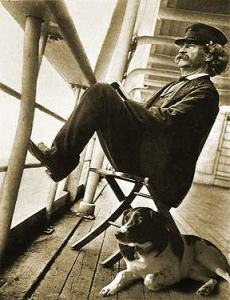 Mark Twain on shipboard with his dog Blue.