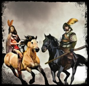 Native American and Spanish conquistador on horses